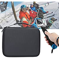 Travel Case for Gopro Action Camera-Medium Size with Customized Sturdy Foam Inlay, Featured Rubber Coated Diamond Pattern PU leather in Black, Water resistant