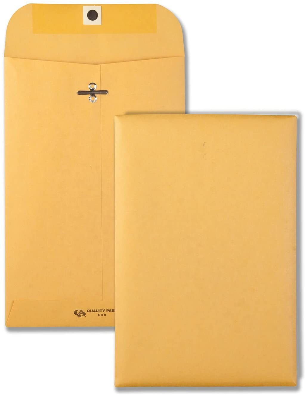 Quality Park 6 x 9 Clasp Envelopes, Clasp and Gummed Closures for Storing or Mailing, 28 lb Kraft Paper, 100 per Box (QUA37855) : Office Products