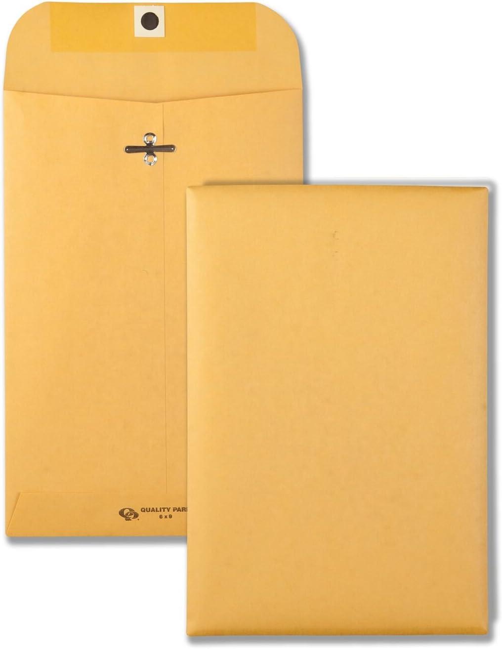 Quality Park 6 x 9 Clasp Envelopes, Clasp and Gummed Closures for Storing or Mailing, 28 lb Kraft Paper, 100 per Box (QUA37855)