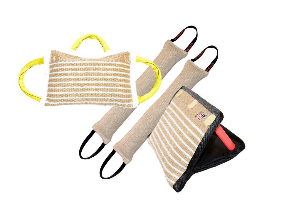 Bundle - 1 - 3 Handle Firm Jute Bite Pillow, 1 - 3 Handle Jute Bite Wedge, 2 - 4'' X 24'' 2 Handle Jute Tug Toy - Redline K9