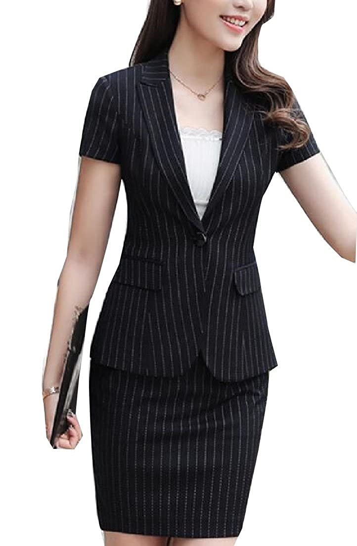 ainr Women's Fashion 2 Piece Stripe Business Blazer Slim Skirts Suit Sets