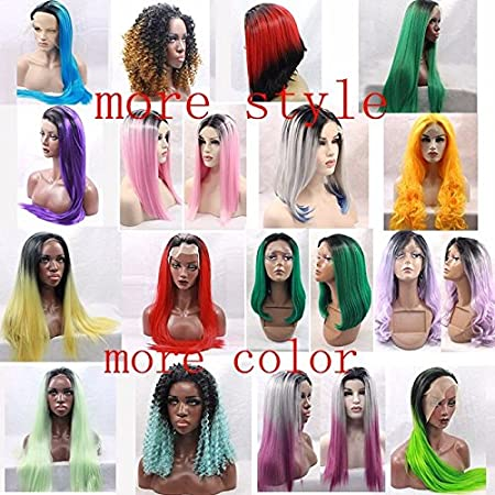 Amazon.com : Natural straight synthetic lace front wig for black women dark roots(3inch) ombre bug baby hair, ombre wig pelucas sinteticas (26 inch) : ...