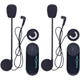 Auricolare Bluetooth Moto FreedConn Cuffie per moto Interphone Sistema di comunicazione auricolare ideale per equitazione, sci (distanza 800 m, compatibile con 2-3 driver, GPS, radio FM, impermeabile)