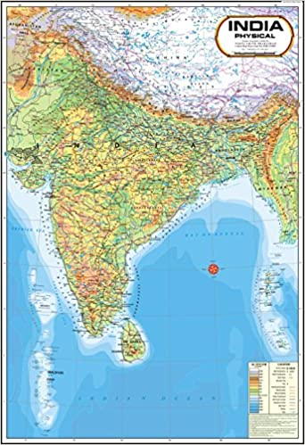 Physical Map Of India Buy India Map   Physical (70 x 100 cm) Book Online at Low Prices  Physical Map Of India