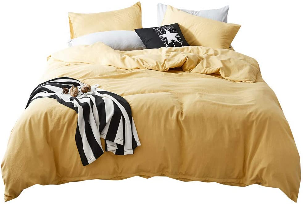 FenDie Solid Cotton Microfiber Duvet Cover Lightweight Polyester Yellow Duvet Cover Twin Soft Wahsed Bedding Set 3 Piece (1 Duvet Cover + 2 Pillowcases), Skin-Friendly and Comfy