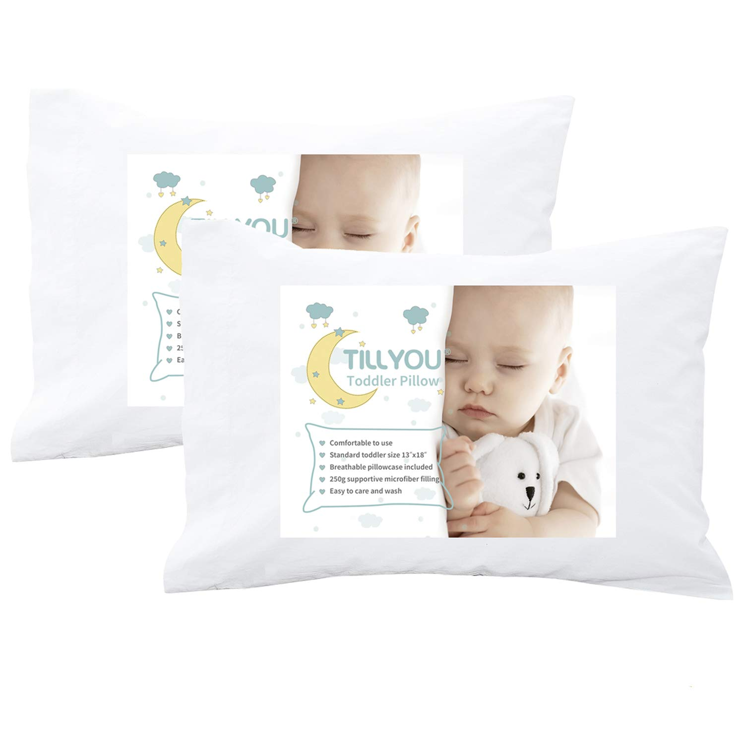 [Pack of 2] Hypoallergenic Toddler Travel Pillow with Pillowcase, 100% Soft Cotton Cases(2), Fits Toddler Bed/Baby Crib/Cot, Machine Washable Kids Pillows for Sleeping Napping, Child Size 13x18, White by TILLYOU