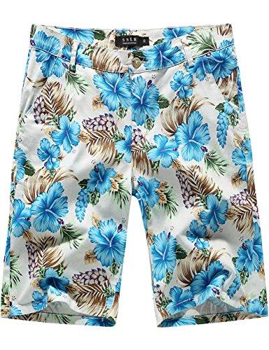 SSLR Men's Mid Rise Flat Front Casual Aloha Hawaiian Short (32, Blue)