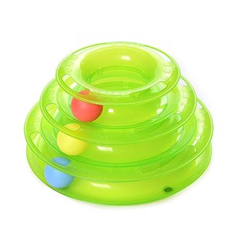 ESHOO tres capas para mascotas juguetes inteligencia juego Crazy Ball bandeja gato juguete