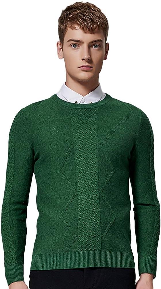 SK Studio Mens Solid Color Crewneck Pullover Knit Sweater