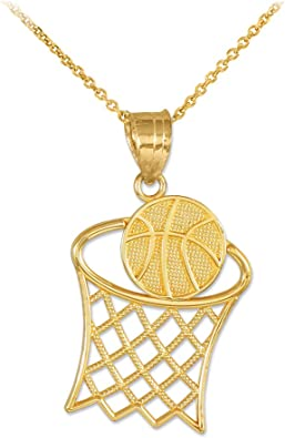 Amazon Com Sports Charms 10k Gold Textured Hoop And Basketball Charm Pendant Necklace 16 Jewelry