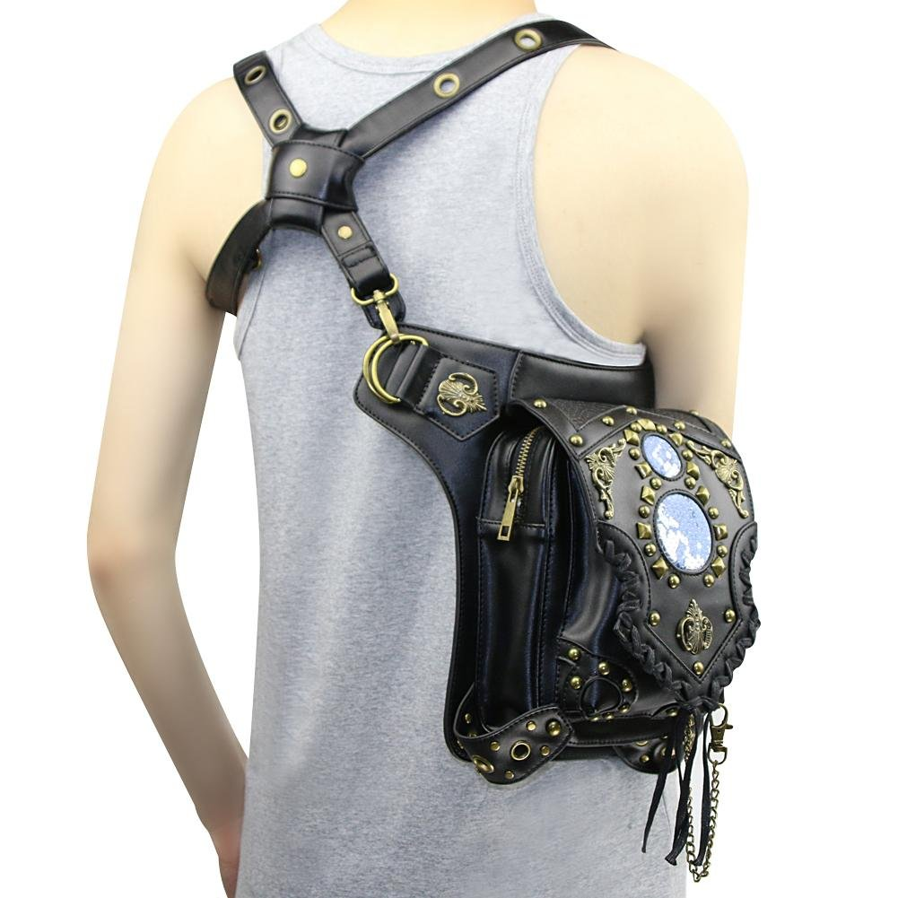 WPYZL Multi - functional women 's shoulder oblique cross - chain package punk pockets by Bumbag&KAIMENDAJI (Image #1)