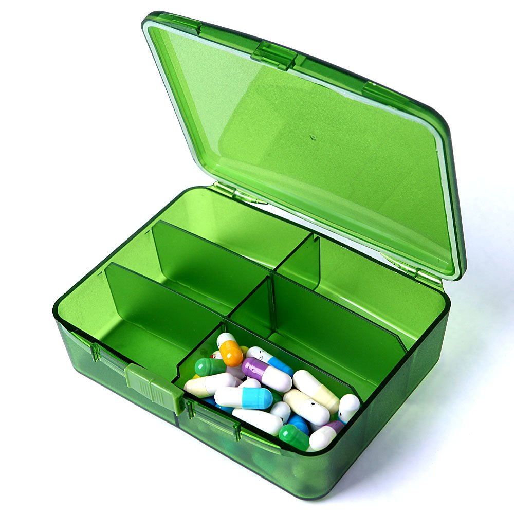 XINHOME 6 Compartment Pill Box Holds Up to 200 Tablets Gasketed & Waterproof (Green) by XINHOME