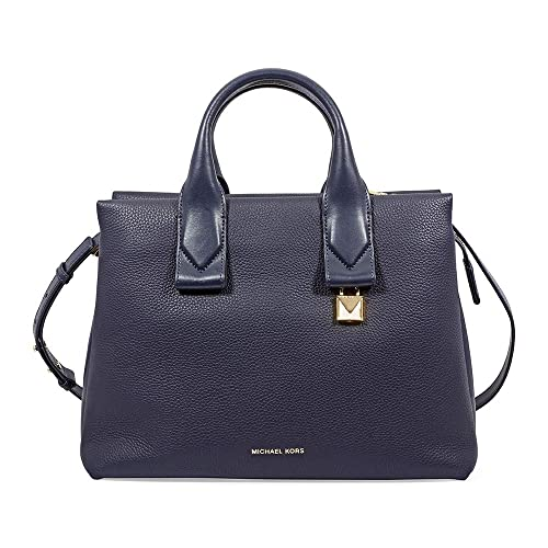 Michael Kors Large Rollins Admiral Pebbled Leather Satchel Bag Navy Leather 02ceb94300cbe