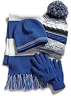 Sport-Teck Sport-Tek Womens College Spirit Hat Scarf and Gloves 4 Piece Set Royal