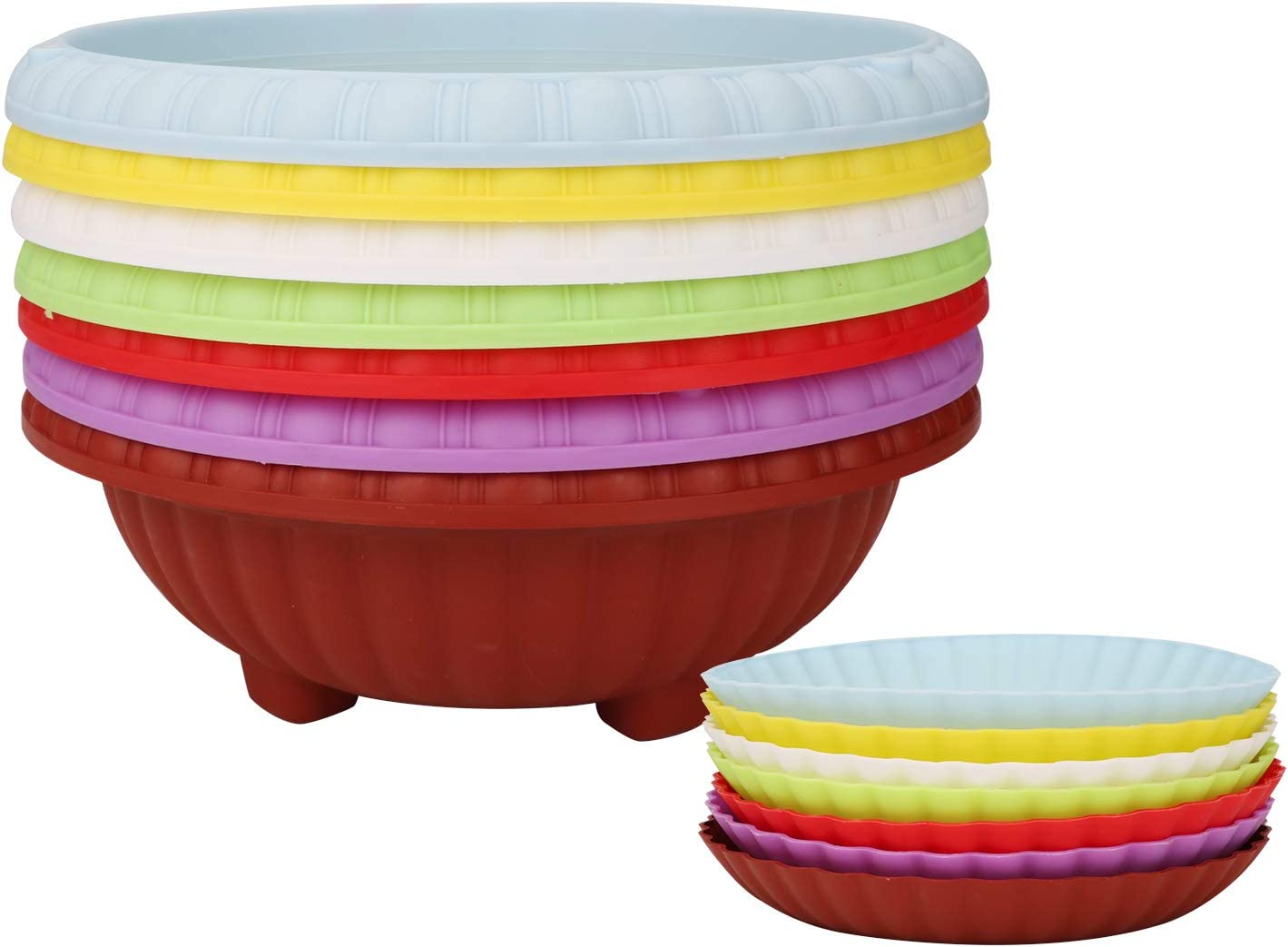 Plastic Plant Pots with Drainage Holes, Ufrount Gardening Containers, Flower Pots, Perfect for Garden/Yard/Kitchen/Flower/Succulents - Set of 7 (7 Colors, Hanging Basket)