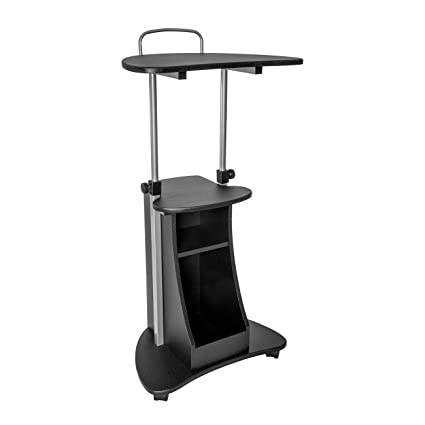 Exceptional Sit To Stand Rolling Adjustable Height Laptop Cart With Storage   Graphite