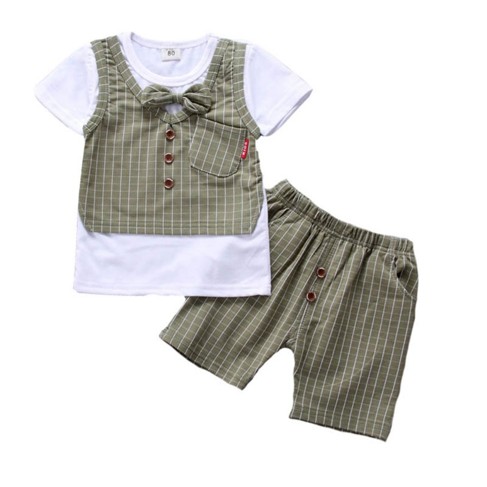 Loveble Summer Boys Fake Plaid Vest Short Sleeve T-Shirt+Shorts 2 Pcs Suit