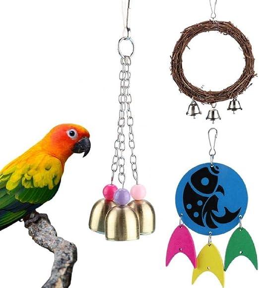 ENLAZY 3 Pack Birds Parrot Swing Ring Toy Colgante Madera Forma de pez Juguetes para Masticar Campanas Colgantes Juego de Juego: Amazon.es: Hogar