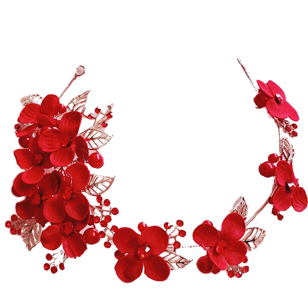 Charm Floral hairband Crystal Beads red crown women hair ornaments golden bridal wedding photography accessories 94