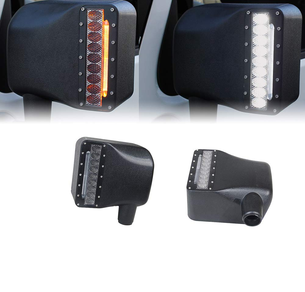 Xprite White LED Light Clear Lens Sidelight Rearview Side Mirror Housing W//Yellow Turn Signal Lights for Jeep Wrangler JK JKU 2007-2018