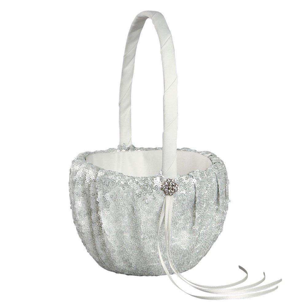 Ivy Lane Design Elsa Matte Sequin Flower Girl Basket, Silver