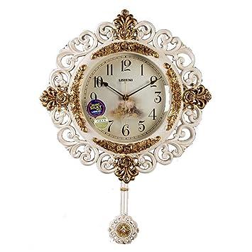Amazon De Retro Pendel Wanduhr Luxus Einfach Stumm Uhr