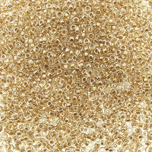 - Miyuki Round Rocaille Seed Beads Size 15/0 8.2g Sparkling Lt Bronze Lined Crystal