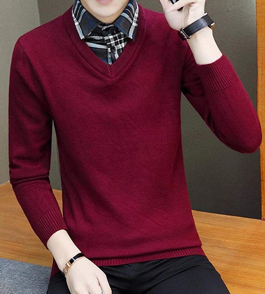YYG Mens Plaid Print Casual Fake Two Pieces Knitting Regular Fit Lapel Collar Pullover Sweaters