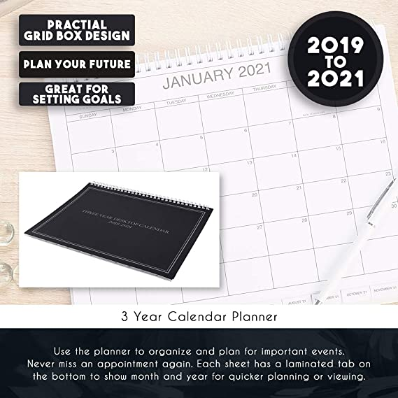 Amazon Com 3 Year Calendar Planner 2019 2021 Monthly Schedule