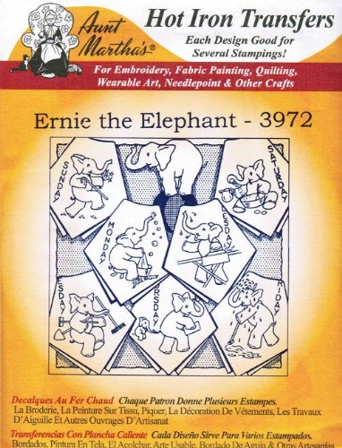 Ernie the Elephant Aunt Martha's Hot Iron Embroidery Transfer Iron Elephant
