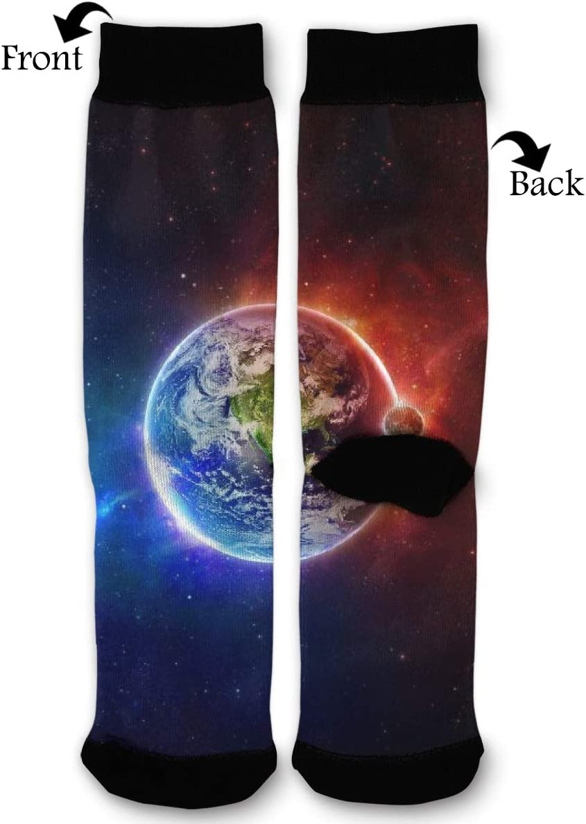 BLongTai Knee High Compression Socks Space Earth for Women and Men Sport Crew Tube Socks