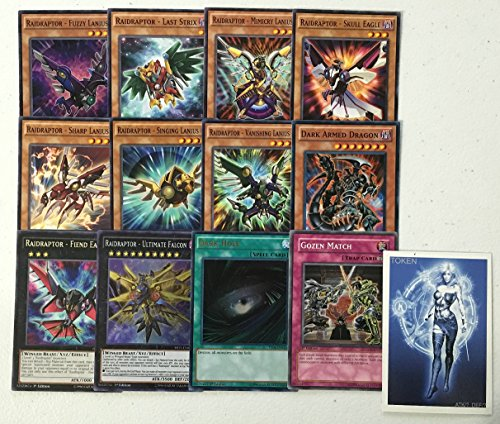 YUGIOH Tournament Ready Raidraptor Deck with Complete Extra & Side Deck with exclusive Phantasm Gaming Token + a Deck Box & 100 Sleeves