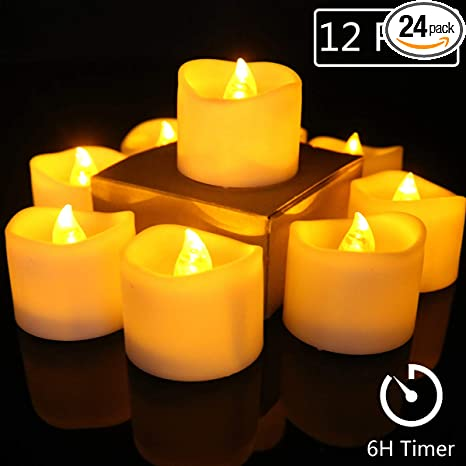 Pack of 12//24 Flameless Flicker LED Tealight Candles for Wedding Party Battery-P