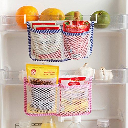 Storage Bags - Honana Hn-B15 Refrigerator Hanging Storage Bag Kitchen Mesh Organizer Seasoning Bags - Hanging Storage Fridge Organizer Mesh Pocket Refrigerator Door Organizers - And - 1PCs