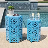 Elliot Nestable Outdoor 12 Inch and 14 Inch Sunburst Iron Side Table Set (Crackle Blue) Review