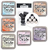 Tim Holtz Distress Oxide Ink Summer 2018 Colors 6 Pad Bundle with 6 Pixiss Daubers, Old Paper, Tumbled Glass, Dusty Concord, Ripe Persimmon, Spun Sugar, Tea Dye