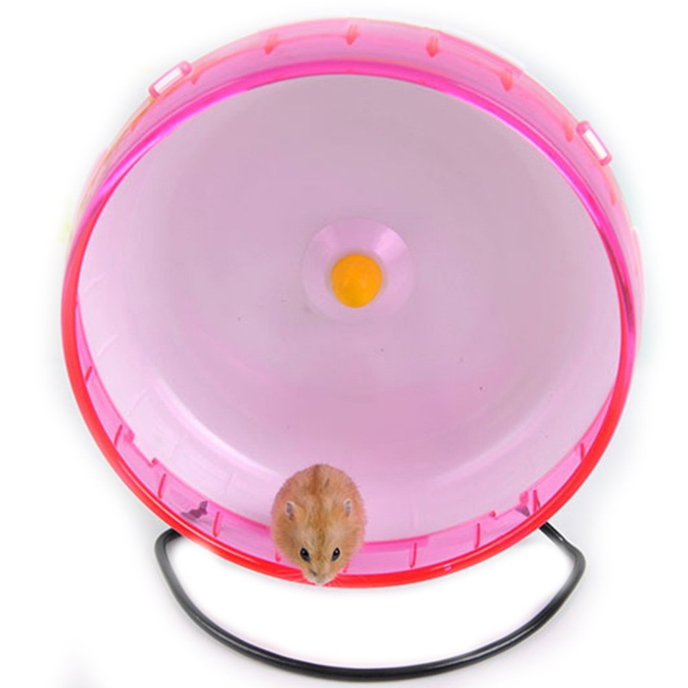 FLAdorepet 8.3 InchBig Silent Hamster Chinchilla Running Exercise Wheel Rack Hamster Guinea Pig Sports Balls Toys Hamster Accessories (Diameter 8.3inch, Pink)