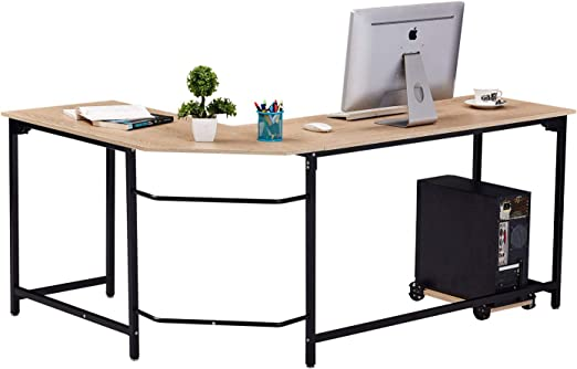 WESTEROS Modern L-Shaped Corner Computer Office Desk PC Laptop ...