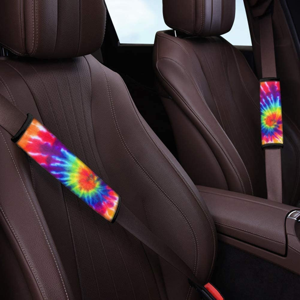1 Armrest Cover FUIBENG Universe Space Galaxy Car Seat Covers Set with 4 Pcs Front Rear Floor Mats 2 Seat Belt Pads Full Set of 10 1 Steering Wheel Cover