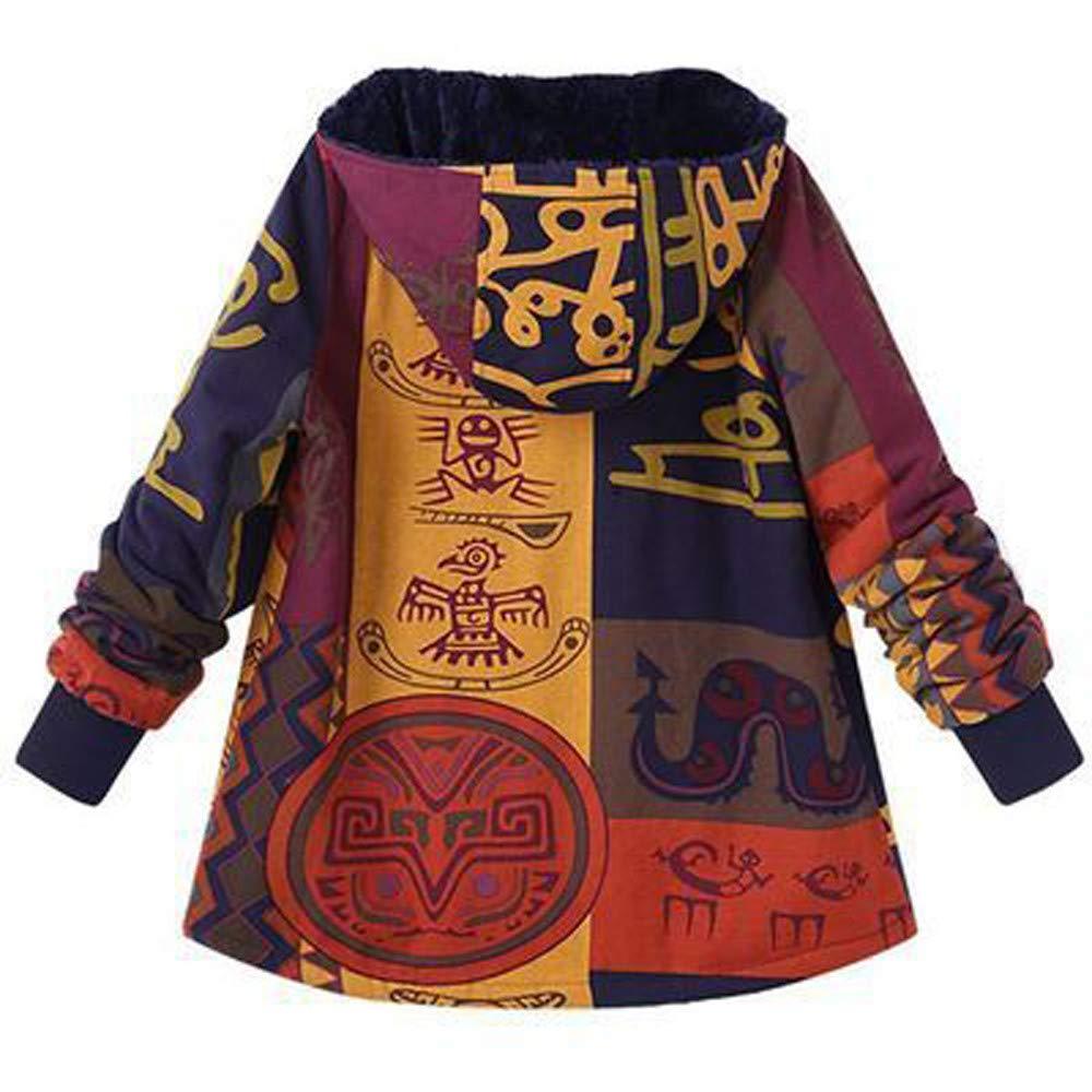 Amazon.com: Franterd Plus Size Coat Women Hooded Long Sleeve Ethnic Vintage Trench Coats Fleece Thick Coats Fur Inside Zipper Winter Warm: Clothing