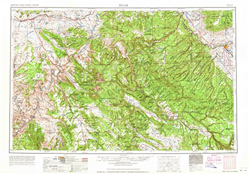 YellowMaps Moab UT topo map, 1:250000 Scale, 1 X 2 Degree, Historical, 1965, 21.8 x 31.1 in - Polypropylene