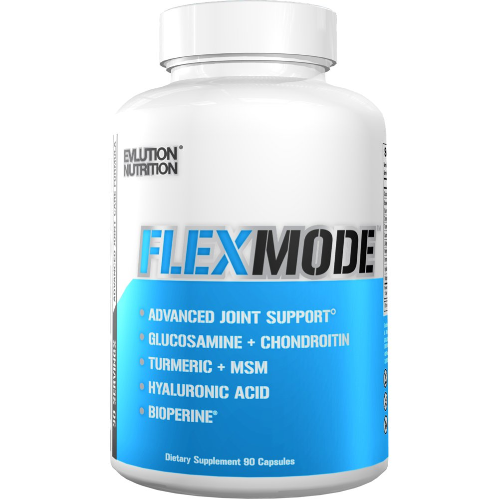 Evlution Nutrition Flex Mode | Advanced All-in-One Joint Support, Mobility & Pain Relief | Glucosamine, Chondroitin, Turmeric, MSM, Boswellia, Hyaluronic Acid | 90 Capsules