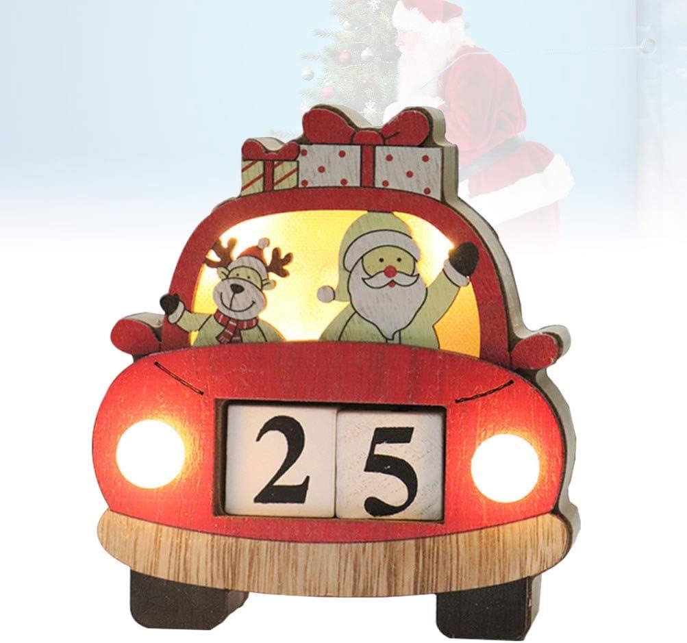 Amosfun Christmas Luminous Countdown Calendar Ornament Santa Claus Elk Calendar Blocks Xmas Table Centerpieces Holiday New Years Eve Desktop Decor Without Battery