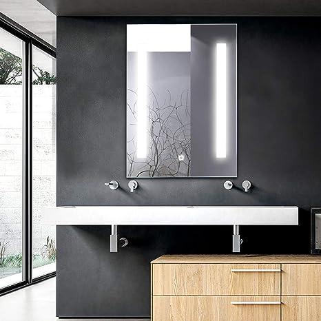 Tangkula LED Bathroom Mirror Wall,Mounted Makeup Vanity Mirror Led Light  Illuminated Lightning Bath Rectangle Hanging 2 Frosted Line Polished Edge