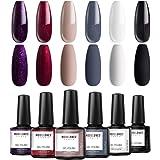 Modelones Gel Nail Polish Set - Elegant Classic Series 6 Colors in Nail Art Box, Nude Gray Black Glitter Wine Red Purple…
