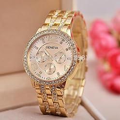 LNTGO Luxury 18K Gold Plated Rhinestone Inlaid Full Steel Geneva Casual Quartz Wristwatches Men Women Dress