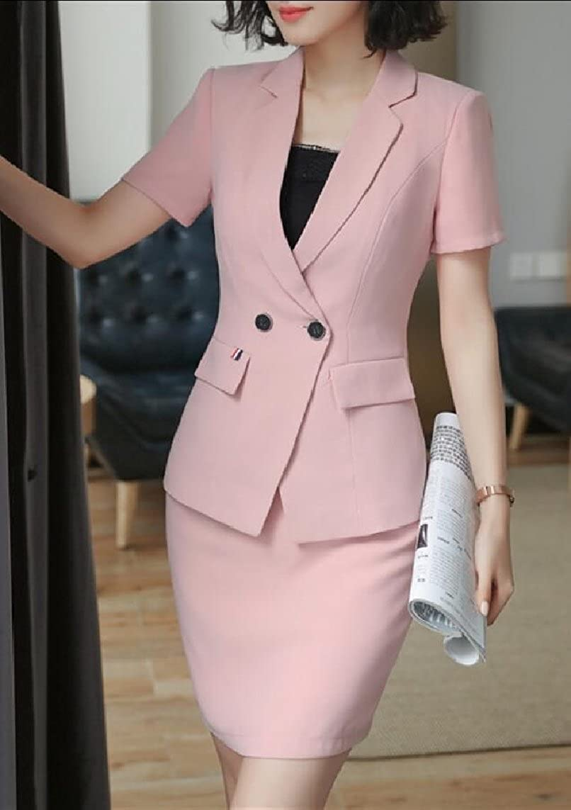 maweisong Women 2-Piece Short Sleeve Office Lady Blazer and Skirt Suit Set