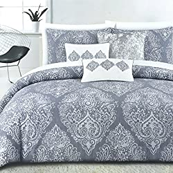 Tahari Home Vintage Damask Ornate Scroll Luxury Duvet Cover 3 Piece Bedding Set Antique Bohemian Paisley Medallion Taupe Tan Ivory Patterned 300tc Cotton Full/Queen or King (Queen, Dusty Blue)