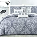 Tahari Home Vintage Damask Ornate Scroll Luxury Duvet Cover 3 Piece Bedding Set Antique Bohemian Paisley Medallion Taupe Tan Ivory Patterned 300tc Cotton Full/Queen or King (King, Dusty Blue)