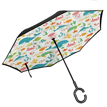 Paraguas Reversible para Coche, con Mango en Forma de C ...